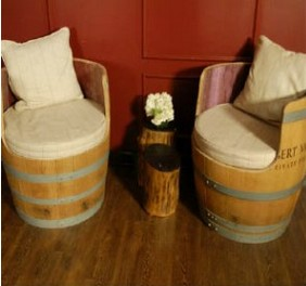 oak barrels as seats