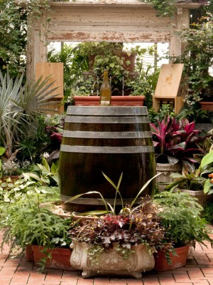 oak barrel fountain